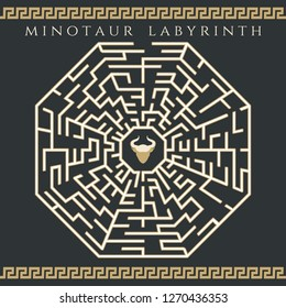 Maze enigma. Vector labyrinth game, ancient map jigsaw or circle rebus with minotaur icon
