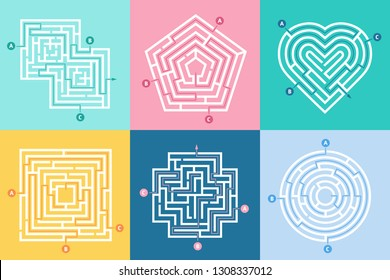 Maze entrance. Find right way, kids labyrinth game and choice mazes entrances letters. Lost way entrance rebus, maze destination paths riddle vector illustration set