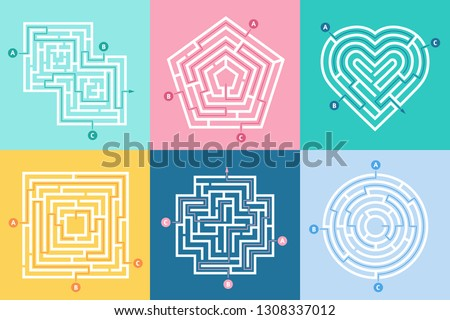 Astounding Maze Entrance Find Right Way Kids Stock Vector Royalty Free Wiring Digital Resources Sapebecompassionincorg