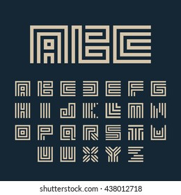 Maze font. Geometric vector letters set. Typography design for architecture logo, headline, monogram.