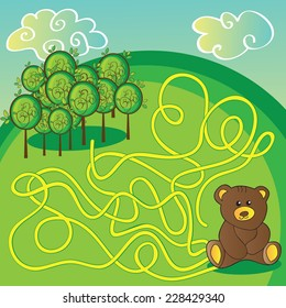 Maze game or activity page Help the bear to choose right way to forest - vector