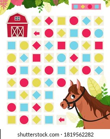 Maze game for children. Farm animals collection. Help the horse to find the farm.
