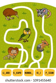 Maze game for children. Find the way from the picture to its title and add the missing letters. Set of australian animals. Kakapo, Frilled lizard, Numbat, Kiwi and Possum