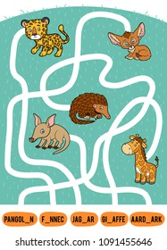 Maze game for children. Find the way from the picture to its title and add the missing letters. Set of african animals. Pangolin, Aardvark, Fennec fox, Jaguar and Giraffe