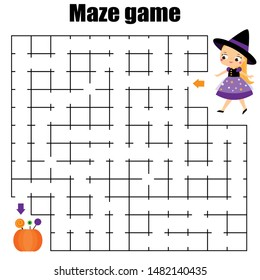 Maze game for children. Halloween theme kids activity sheet. help girl find sweet
