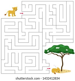 Maze game for children. Help the baby lion find right way to his friend. Cute cartoon characters. African animals.