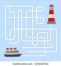 Maze game for children. Help the boat get to the lighthouse.