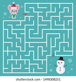 Maze game for children. Help the kawaii mouse find right way to snowman. Chinese New Year symbol - rat. Cartoon character rodent. Activity worksheet.
