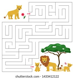Maze game for children. Help the lioness find right way to his family, lion pride. Cute cartoon African animals characters.