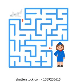 Maze game for children. Help the stewardess to be in time the plane.