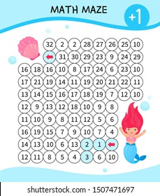 Maze game for children. Material for learning mathematics. Cartoon cute mermaid.