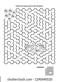 Maze game and coloring page: Help the bees get to the flowers. Answer included.