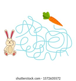Maze game, education game for children rabbit carrot.Flat illustration vector. Children's game.