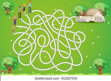 Maze game with family and house illustration