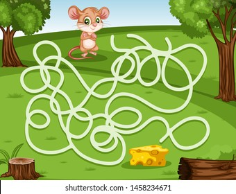 Maze Game Help the Little Mouse to Rich the Cheese. Vector Illustration Activity Game for Kids. Labyrinth Vector Cartoon Game with Animals