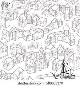 Maze Game: Help for Sailors Find the Ship in the Bay. Cartoon Small Tow. Hand Drawn Vector Illustration