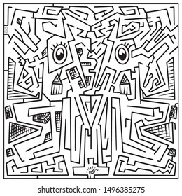 Maze Game Illustration Artistic Style Brain Training Visual Game Art Vector Labyrinth With An Entry And Exit Find The Way Out In A Logic Puzzle Solve The Riddle Travel Through An Artwork Make A Choice