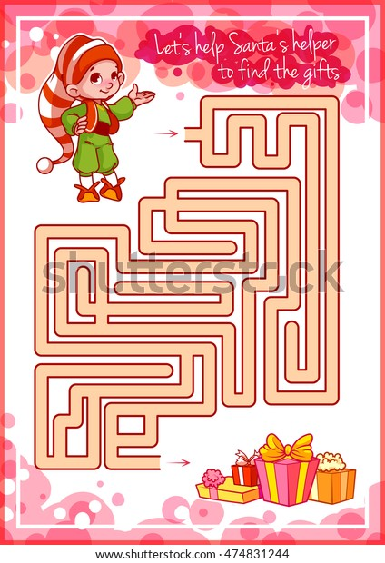 Maze Game Kids Cute Elf Gifts Stock Vector (Royalty Free ...
