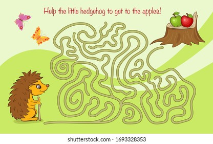 Maze game for kids with a hedgehog and apples. Help the little hedgehog to get to the apples.