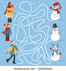 Maze game for kids: help children to find their snowmans. Developing game for boys and girls.