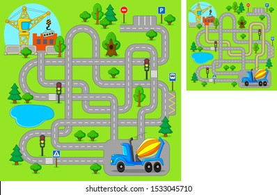 Maze game for kids. Help concrete mixer truck find the way construction site. Vector cartoon illustration.