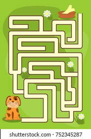 Maze game for kids: Help the doggy find their food!