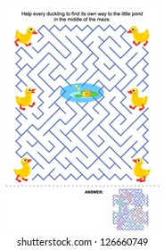 Maze game for kids: Help every duckling to find its own way to the little pond in the middle of the maze. Answer included. For high res JPEG or TIFF see image 126660752