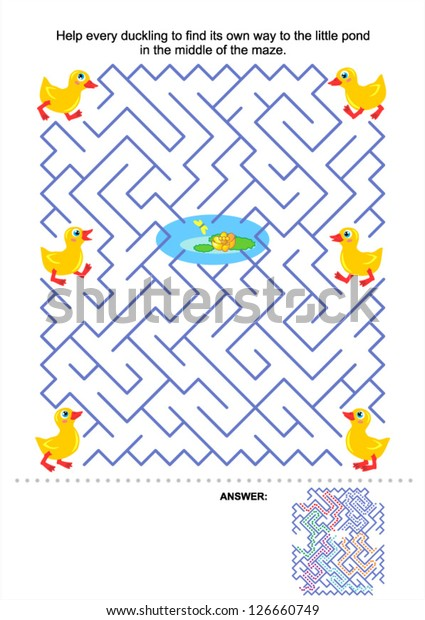 Maze Game Kids Help Every Duckling Stock Vector (Royalty