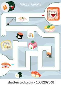 Maze game Kids Printable Game. Vector Illustration. Preschool Kindergarten Worksheet. Sushi and rolls game.