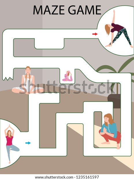 photograph regarding Printable Yoga Poses for Preschoolers identified as Maze Activity Small children Printable Video game Vector Inventory Vector (Royalty