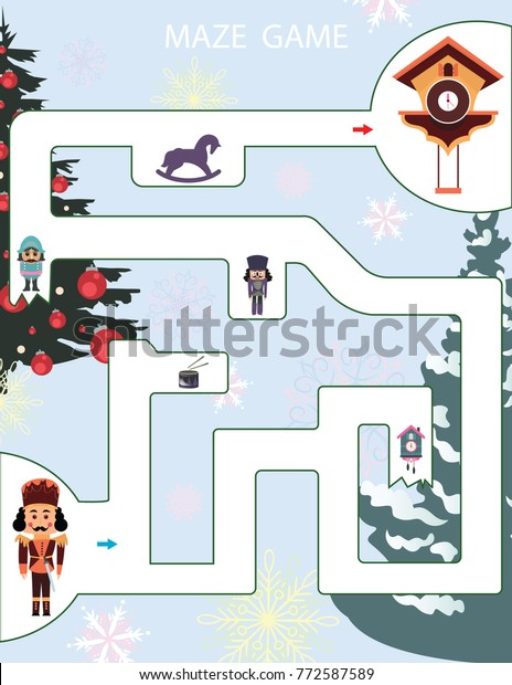 photo regarding Nutcracker Worksheets Printable referred to as Maze Video game Small children Printable Match Vector Inventory Vector (Royalty