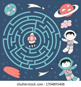 Maze game for little one. Help spaceman get to rocket. Vector illustration. Funny labyrinth for kids.
