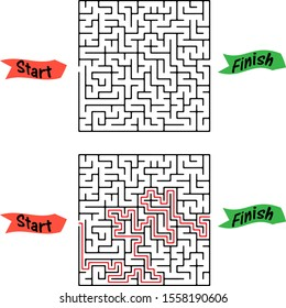 Maze game Pick fruits box worksheet for education