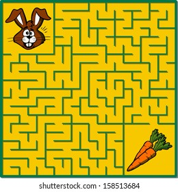 Maze game puzzle with solution on separate layer (Help rabbit find its carrots)
