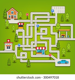Maze game with roads, trees, car, parking, store, hospital, gas station, home and road signs. Flat style vector isolated illustration.