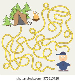 Maze Game template with children camping - illustration