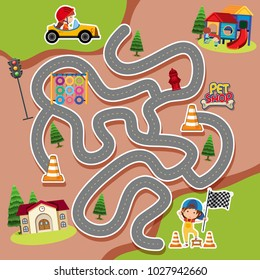 Maze game template with kid in racing car illustration