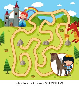 Maze game template with princess and knight illustration