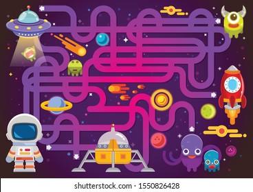 Los juegos de Maze encuentran el camino para el astronauta con la colección de temas del espacio y la nave espacial, escenas del espacio, educación divertida, el rompecabezas del laberinto espacial para niños, juegos del puzzle del laberinto espacial para la impresión de libros, aplicaciones
