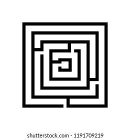 Maze icon, silhouette, logo on white background