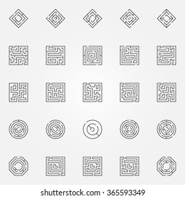 Maze icons set - vector outline maze or labyrinth signs. Thin line symbols or logo elements