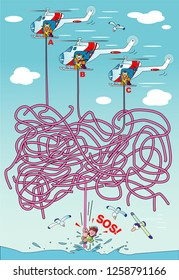 A maze illustration to rescue with a helicopter