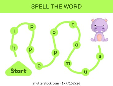 Maze for kids. Spelling word game template. Learn to read word hippo, printable worksheet. Activity page for study English. Educational activity for development of children. Vector stock illustration.