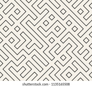 Maze / Labyrinth Abstract Geometric Seamless Pattern. Vector Illustration.