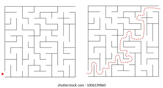Maze, labyrinth abstract vector game rectangle. Square puzzle with solution, entry and exit. Isolated, black on a white background. Game for children and adults. Simple maze, flat illustration.