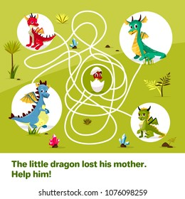 Maze labyrinth children game vector illustration. Cartoon dragons, help find way to child egg on tangled way lines, logical solution game for kids book design template