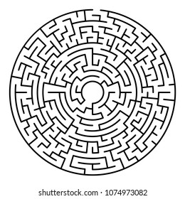 Maze labyrinth. Circular game isolated on background
