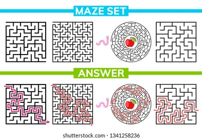 Maze, labyrinth conundrum for kids. Entry and exit. Maze set, collection labyrinth. Children puzzle game. Vector stock illustration