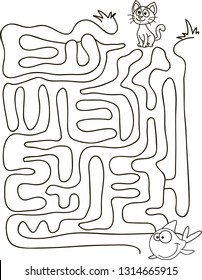 Maze, labyrinth educational game for children, cartoon colorful vector illustration. Help the cat to find the right way in the maze and to find his friend fish. Back to school.