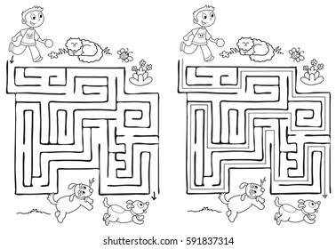 Maze labyrinth game for kids with solution. A boy have to find the right way. Coloring vector.